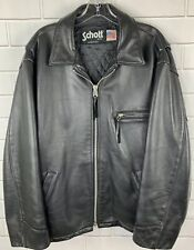 Vintage Schott NYC Leather Jacket Black Mens Size 44