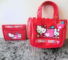 Rare Red Faux Patent Leather Hello Kitty Purse and Matching Wallet Euc