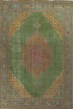 Antique Overdyed Green Oriental Traditional Area Rug Wool Hand-knotted 10x13 ft
