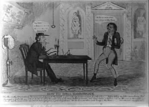 How to Spell Harrowgate,British Cartoon,1828,Judge,Wig,Pen in Hand,Signed 7738
