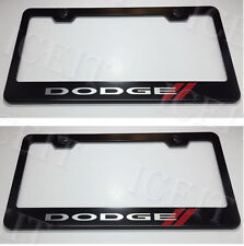 """2X """"DODGE"""" Stainless Steel Black License Plate Frame Rust Free W/ Bolt Caps"""