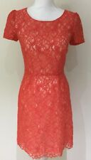 Portmans Stunning Lace Fitted Shift Coral Dress Wedding Races Size 8