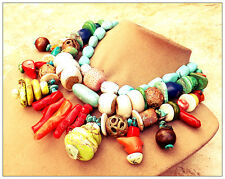 BLUE TURQUOISE AFRICAN COPPER Red Green Coral Statement NECKLACE Stone Art Jade