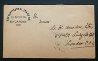 1930 Singapore Strait Settlements Malaya Cover To London England Continental