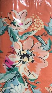NEW HaynesBesco Orange Flowers 3-Ply Paper Guest Dinner Hostess Napkins 16 Count