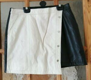 "RIVER ISLAND Real Leather Black & white Mini Skirt Size 12 Waist 28"""
