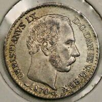 1870 4 Skilling Denmark Christian IX Silver Coin High Grade Nice Look!