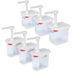 6 Pumpspender für Saucen, 3 Spender 1,5 l + 3 Spender 2,6 l, pro Hub 30 ml