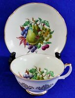 Beautiful Royal Grafton FRUIT & BERRIES Gold Trim Cabinet Tea Cup & Saucer Set