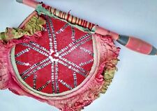 VINTAGE Old Hand Made Wooden Lacquer Painted Handle  Beaded Hand Use Fan India