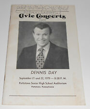 Vintage Signed 1979 Civic Concerts Program Dennis Day High School Pottstown PA