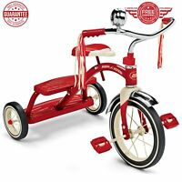 """Trike Classic Tricycle Dual Deck Retro 12"""" Front Wheel Steel Frame/ Red"""