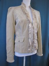 WHBM Size 6 Beige Soft Jacket Blazer Fitted Pleated Ruffle Trim Long Sleeves