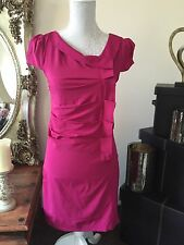 BOOHOO Magenta Cerise Pink Stretch Ruched Shift Dress Size 10 Brand New