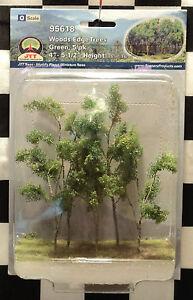 "JTT SCENERY 95618 WOODS EDGE TREES - GREEN  4"" - 5 1/2""  O-SCALE  5 PER PACKAGE"