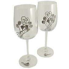70th Wedding (Platinum) Anniversary Pair of Wine Glasses