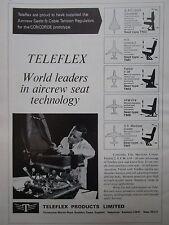 1969 PUB TELEFLEX AIRCREW SEAT SIEGE PILOTE CONCORDE F.28 VFW 614 ORIGINAL AD