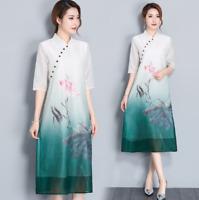 Womens Cheongsam short Sleeve loose Qipao Dress floral print dresses size retro%