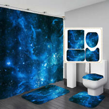Blue Galaxy Shower Curtain Bath Mat Toilet Cover Rug Home Bathroom Decor