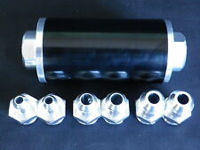 FUEL FILTER BLACK ALUMINIUM 60 MM STAINLESS ELEMENT INC 6 - 8 - 10 AN FITTINGS