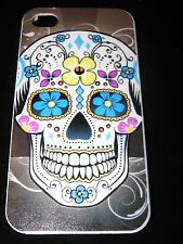 Sugar Skull Hard Cover Case iPhone 4 4s Sugar Skull Yellow  Blue Purple Flowers