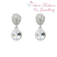 18K White Gold Plated Made With Swarovski Crystal Clear Round Cut Stud Earrings