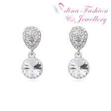 Crystal Clear Round Cut Stud Earrings 18K White Gold Plated Made With Swarovski