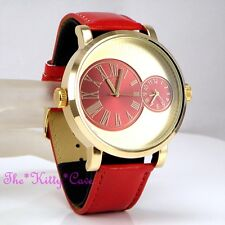 Designer Gold & Red Leather Dual Time 2 Twin Zone Double Dial Big Sunray Watch
