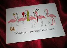 "ELEGANT GOLD FOIL SEAL""WARMEST HOLIDAY GREETINGS"" PINK FLAMINGO CHRISTMAS CARDS"