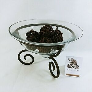 Glass Bowl Decorative Round with Iron Metal Scroll Stand Table Centerpiece