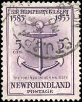1933 Canada Used R.P.O.CANCEL Newfoundland 5c VF Scott #216 Stamp