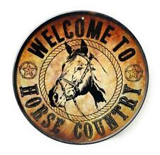 "WELCOME TO HORSE COUNTRY 12"" Country Aluminum Round Sign"