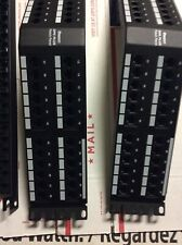 Lot Of 2 Panduit DPA48688TGY 48-Port Angled CAT6 Patch Panel, & 4 Strain Relief