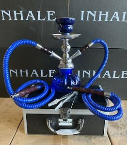 INHALE®️10 INCH 2 HOSE AVALANCHE  SMALL PUMPKIN HOOKAH IN A HARD SUITCASE(BLUE)