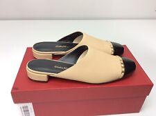 Salvatore Ferragamo Muggia Mules Almond Calf Patent Size 8 Slip On Chain Link
