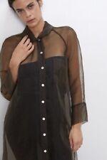 BNWT ZARA Khaki Brown LONGLINE SHEER ORGANZA MIDI SHIRT DRESS XS 6 8 10