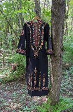 60s Vtg Chain Stitch Embroidered Maxi Dress Cotton India Boho Hippie L NOS 70s