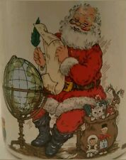 *Potpourri Press Christmas Mug Santa List Globe Peace on Earth II Coffee Cup VTG