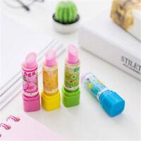 3PCS Lipstick Shape Rubber Pencil Eraser For Kid Gift Toy Children Stationery