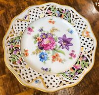 """Early Schumann Bavaria Dresden Reticulated Floral Gold Gilt Plate 8 3/8"""""""