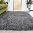 Slate Grey Shaggy Rug Thick Soft Bedroom Rugs Fluffy Non Shed Living Room Mats