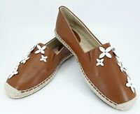 New Michael Kors Lola Womens 7 Brown Espadrille Flats Shoes Slip On Flowers nwob