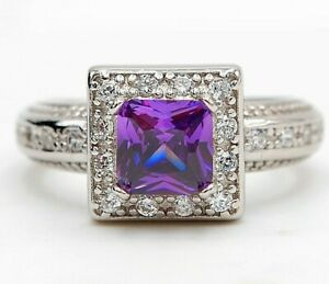 2CT Amethyst & Topaz 925 Solid Sterling Silver Ring Jewelry Sz 8, M12