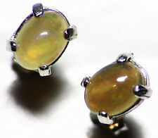 Ethiopian Opal Earrings (1.4 tctw) Studs in Sterling Silver Cabochons