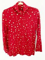 Time and Tru Womens Red Turtleneck With Gold Stars Size Medium Cotton