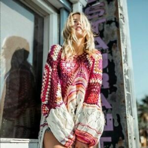 FREE PEOPLE Call Me Crochet Long Sleeve Pullover Sweater M/L Retail $228