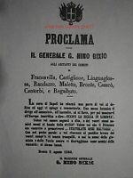 RISORGIMENTO GARIBALDI GENERALE NINO BIXIO PROCLAMA ECCIDIO DI BRONTE(COPY)1800