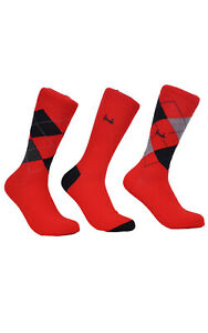 Mens Pringle 3 Pack Socks Waverley Argyle L4100 FAS6 Red