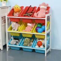 Toy Storage Organizer 9/6 Plastic Bins Toy Box 3 Tier Playroom Rack Organizer