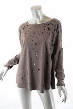BEATE HEYMAN Mink Polyester Blend Ultra Suede Top w/Holes - NWT - 38/US6 - $369